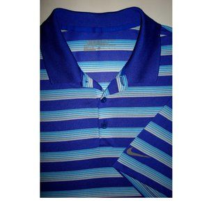 NIKE GOLF Dri-Fit Blue Stripe Polo Shirt